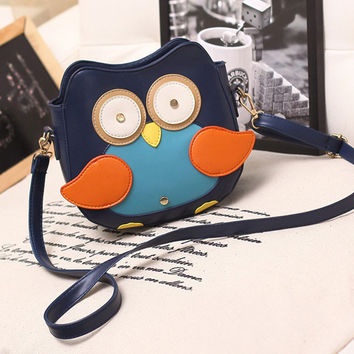 Navy Blue Owl Pattern Shoulder Messenger Bag