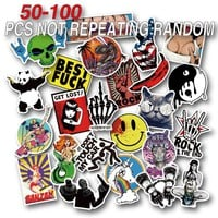 50-100 Pieces Do Not Repeat PVC Waterproof Fun Name Sticker Toys The Luggage Fashion Laptop Stickers Handbag Decoration Stickers
