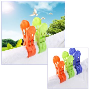 8pcs Large Sized Plastic Beach Towel Clips Quilt Clips bed sheet Clothespins underwear Clips Windproof Clothes Pegs