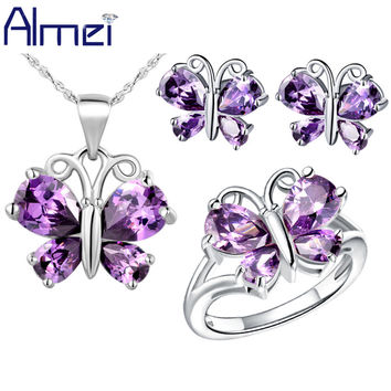 Butterfly Jewelry Sets for Women Silver Plated Necklace Set with Purple/White Crystal CZ Diamond Animal Earrings Rings 2016 T235