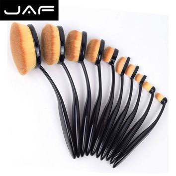 10 Pc Oval Foundation Makeup Brush Set