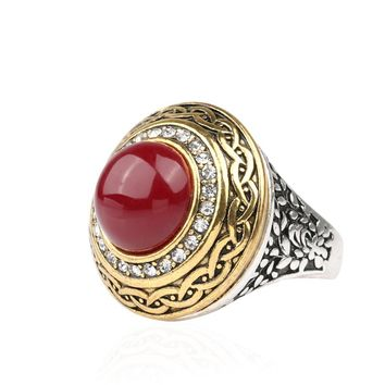 Luxury Vintage Wedding Ring Fashion Round Gold Band Inlay Resin And Crystal Red Indian Jewelry