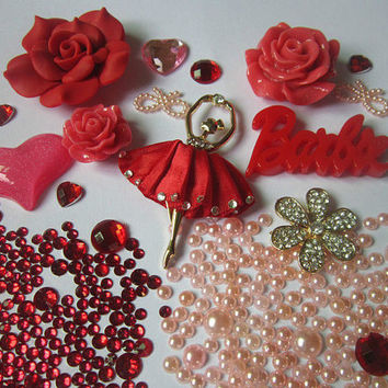 DIY Red Bling Flatback Resin Cabochons Kawaii Ballerina Girl Deco Kit  SET-Cell Phone, iPhone, Scrapbooking