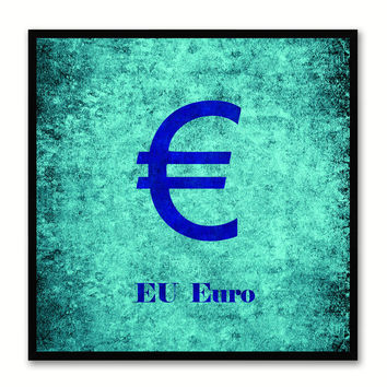 Europe Euro Money Currency Aqua Canvas Print with Black Picture Frame Home Decor Wall Art Collection Gifts