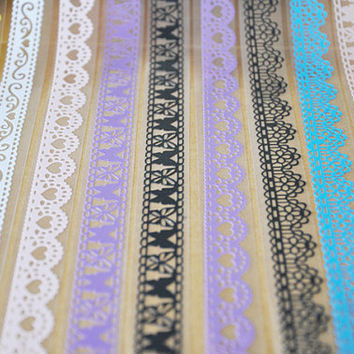 Lace Tape Sticker Kawaii Lace Deco Tape (1 pc BY RANDOM) Scrapbooking Card Making Gift Packaging Wedding Home Decor Diary Deco Collage WR10
