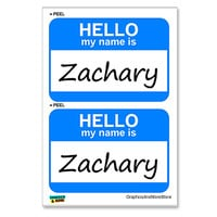 Zachary Hello My Name Is - Sheet of 2 Stickers
