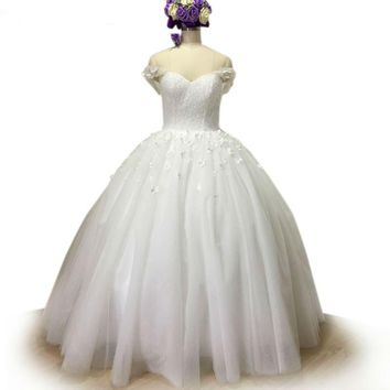 Shiny Elegant Wedding Dress Beaded Ball Gown Wedding Dresses Off shoulder Lace up Tulle Bridal Gowns