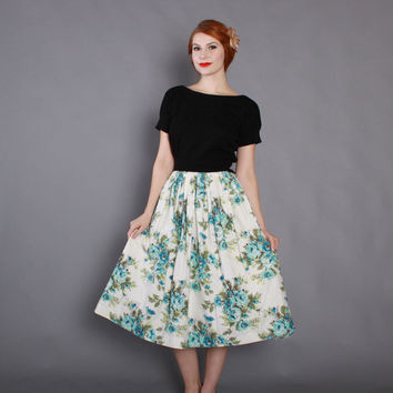 50s Aqua & White FLORAL Print SKIRT / Vintage 1950s Rockabilly Turquoise Cotton Full Skirt xs