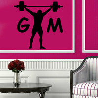 Sport Wall Decals Bodybuilder With Crossbar Decals Sportsman Gym Wall Decor Fitness Vinyl Sticker Home Decor Vinyl Art Wall Decor KG161