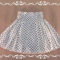 Me And My Skirt - Cutie Simply 17 Inches MINI SKIRT Off White Color Playful Black Polka Dots Elastic Waist XS-S
