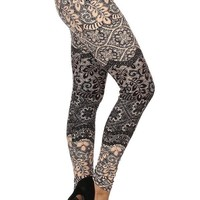 Women's Lace Vine Leggings Elegant Floral Pink/Black: OS/PLUS