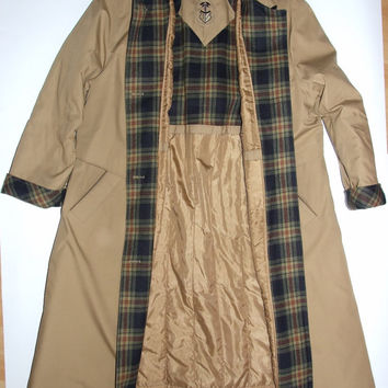 Vintage Long Coat / Beige / wool plaid / Jacket / Unisex Raincoat / Gentlemen's / Unisex / Women's Men's / Oversize / Mac coat / Trench coat