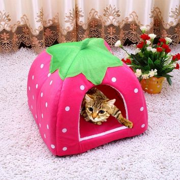 Pet Strawberry Or Leopard Design House For Cat Dog Small Animal Bed