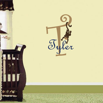 Vinyl Decals Monogram Name Initial with Monkey  Home Wall Art Decor Removable Sticker Mural L87 Unique Design for Boy Nursery Baby Room etc