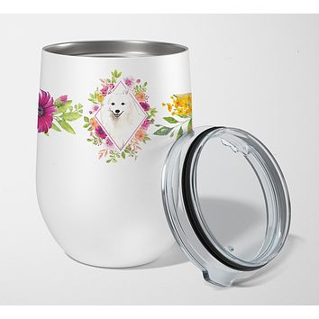 Japanese Spitz Pink Flowers Stainless Steel 12 oz Stemless Wine Glass CK4229TBL12