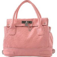 MG Collection Chic Pink Ostrich Embossed Soft Leatherette Office Tote Handbag w/Detachable Shoulder Strap