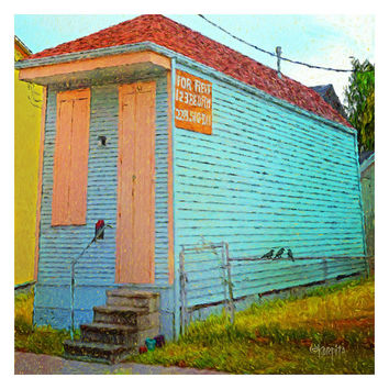 New Orleans Whimsical Tiny House Crows Giclee Print 10x10 16x16 - Shotgun House for Rent - Korpita