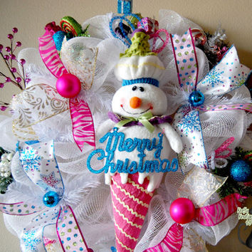 Christmas Snowman Ice Cream Cone Deco Mesh by KraftyKreations4You