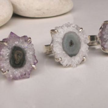 Stalactite Ring- Quartz Ring- Amethyst Ring- Slice Ring- Gemstone Ring- Raw Ring- Crystal Ring- Statement Ring- Chunky Stone Ring
