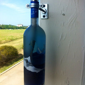 Grey goose tiki torch vase upcycled vodka bottle and hardware