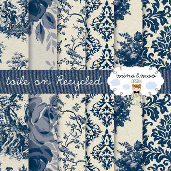 x6 French Toile papers on a recycled background