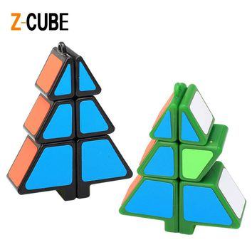 Newest ZCUBE 1x2x3 Christmas Tree Shaped Magic Cube Sticker Speed Puzzle Educational Toys Xmas Gift for Kids -45