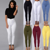 US Women's Pencil Stretch Pants Cotton Skinny Jeans Pants High Waist Trousers