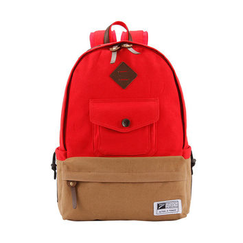 College On Sale Back To School Hot Deal Comfort Stylish Casual Canvas Patchwork Pc Backpack [6304975748]