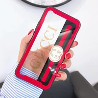 GUCCI Fashion Women Men Personality Transparent Glass Graffiti Letters Pattern Cellphone Case For iphone 6 6s 6plus 6s-plus 7 7plus iphone 8 iphone X Protective Shell Red I12715-1