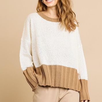 Brown and Cream Long Sleeve Sweater