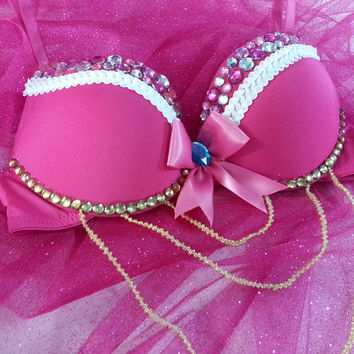 Princess Peach Rave Bra--Princess Peach Costume--Custom Bra, Lingerie, Cosplay