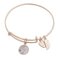 Expandable Bangle Bracelet Birthstone April Charm Rose Gold Plate