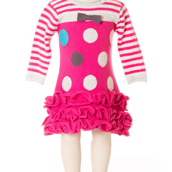 Deux Par Deux Girls Princess De Nord Polka Dot Knit Dress Fuschia Pink Size 3-6 YRS Ruffled Bottom