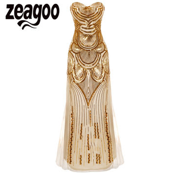 Zeagoo Luxury Gold Silver Long Sequin Gatsby Dress Maxi Cheap Evening Gowns Sleeveless Prom Party Formal Dresses robe de soiree