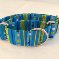 Funky Stripe Summer Martingale or Quick by DogCollarsByDesign
