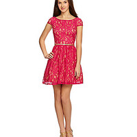 Jodi Kristopher Cap-Sleeve Lace Dress | Dillards.com