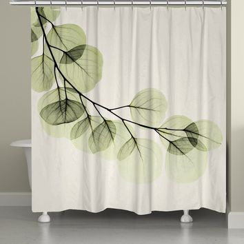 Green X-Ray of Eucalyptus Leaves Shower Curtain