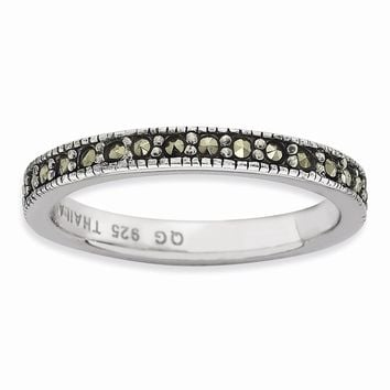 Sterling Silver Stackable Expressions Marcasite Band ring