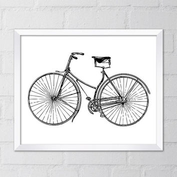Vintage Bicycle Illustration Art Print, 8x10 Printable Digital file, Wall art, Home decor, Minimalist decor, Black, White, Instant Download
