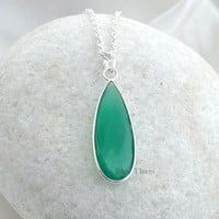 Green Onyx Long Pear 11x32mm 925 Sterling Silver Necklace #7371