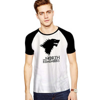 The North Remembers Game of Thrones New For Short Raglan Sleeves T-shirt, Red Tees, Black Tees, Blue Tees ***