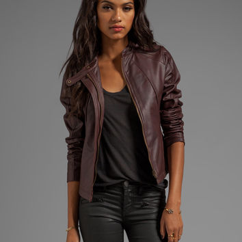 Jack by BB Dakota Kaia Hooded Faux Leather Jacket in Dark Cherry