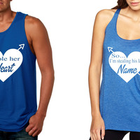 I stole her heart so Im stealing his last name tanktops Valentines day Couple