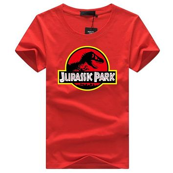 Summer JURASSIC PARK Print 3D T Shirt Men Funny Tops O-neck Tees Hipster Design t shirt White Short Sleeve Tee shirts Plus Size