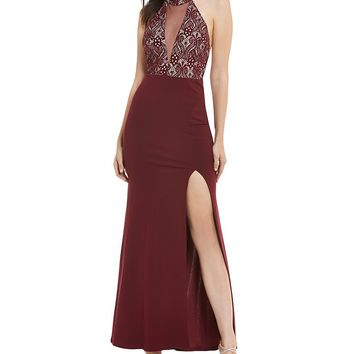 Sequin Hearts Choker-Neck Lace Bodice Long Dress | Dillards