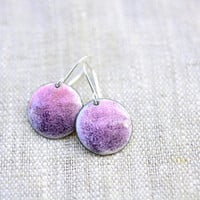 Purple enamel earrings - round dangle sterling silver - artisan jewelry by Alery