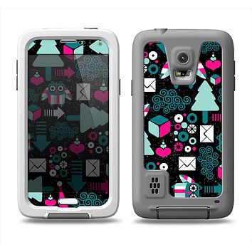 The Pink & Teal Owl Collaged Vector Shapes Samsung Galaxy S5 LifeProof Fre Case Skin Set