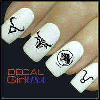Taurus Nail Art Decals 32 Taurus Zodiac Nail Decals