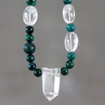 Quartz Necklace 49 - Blue Chrysocolla Clear Point Beaded