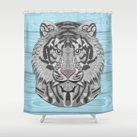 White Tiger Shower Curtain by ArtLovePassion